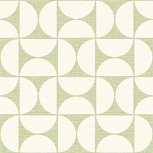 Deedee Green Geometric Faux Grasscloth Wallpaper