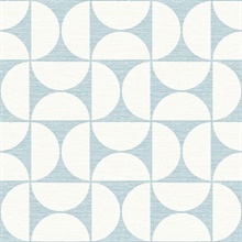 Deedee Light Blue Geometric Faux Grasscloth Wallpaper
