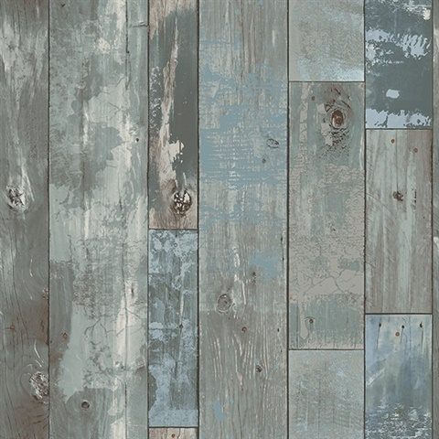 2540 24053 Deena Blue Distressed Wood Wallpaper