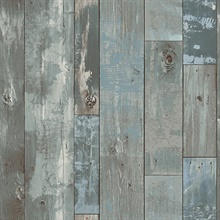 Deena Blue Distressed Wood Wallpaper