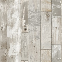 Deena Grey Distressed Wood Wallpaper