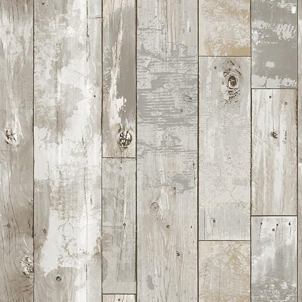 2540 24054 Deena Grey Distressed Wood Wallpaper