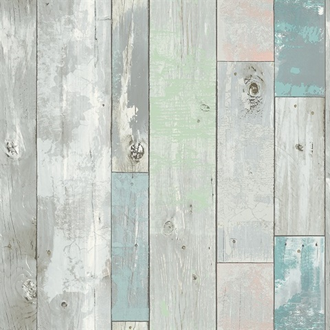 Deena Turquoise Distressed Wood Wallpaper