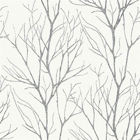 Diani Charcoal Metallic Textured Tree Branches Wallpaper