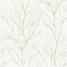 Diani Gold Metallic Textured Tree Branches Wallpaper