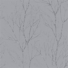 Diani Pewter Metallic Textured Tree Branches Wallpaper
