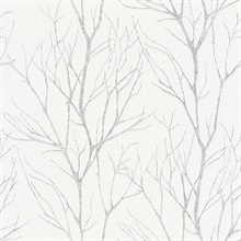 Diani White Metallic Textured Tree Branches Wallpaper