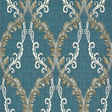 Dis Rumba Blue Scroll Damask Wallpaper