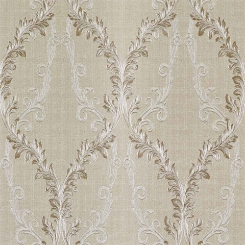 Dis Rumba Cream Scroll Damask Wallpaper