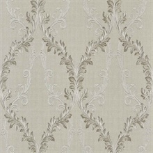 Dis Rumba Ivory Scroll Damask Wallpaper