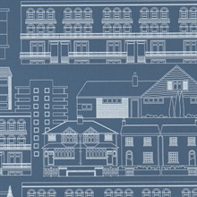 Do you live in a Town? - Blueprint colourway wallpaper