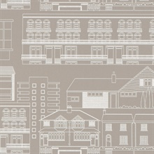 Do you live in a Town? - Weathered Cedar colourway wallpaper