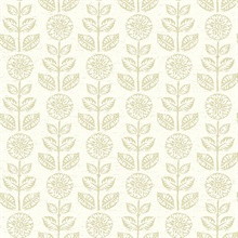 Dolly Neutral Folk Floral Wallpaper