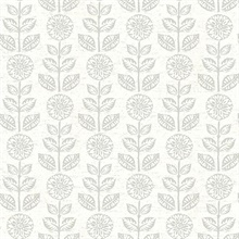 Dolly Taupe Folk Floral Wallpaper