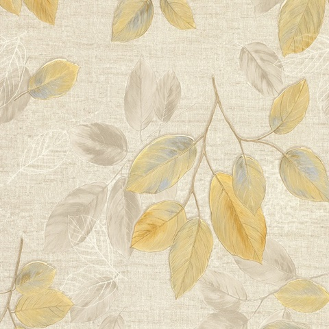 Dorado Beige Leaf Toss Wallpaper