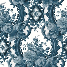 Dreamer Blue Damask Wallpaper