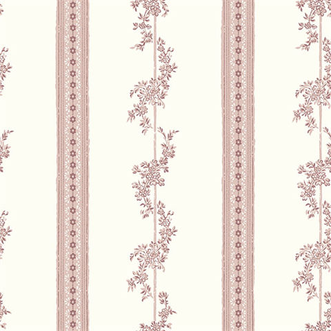Drottningholm Rose Floral Stripe Wallpaper