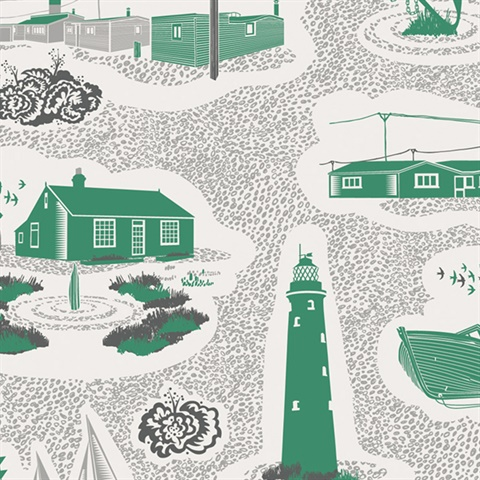 Dungeness - Coach Emerald colourway wallpaper