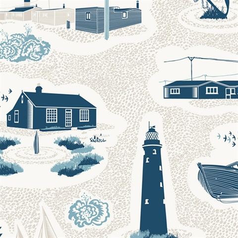 Dungeness - Washed Denim colourway wallpaper