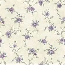 Elizabeth Purple Floral Trail Wallpaper