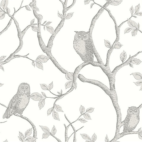 Enchanted Forest Grey Owl & Tree