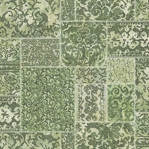 2540 24061 Esma Green Vintage Carpet Wallpaper