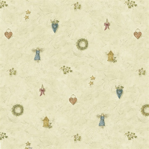 Essie Grey Wreath Spot Toss Wallpaper