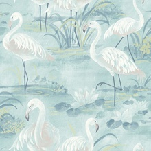 Everglades Aqua Flamingos Wallpaper