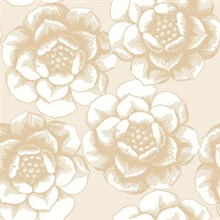 Fanciful Gold Floral Wallpaper
