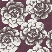 Fanciful Plum Floral Wallpaper