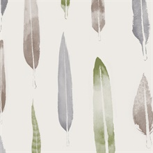 Feathers - British Lichen colourway wallpaper