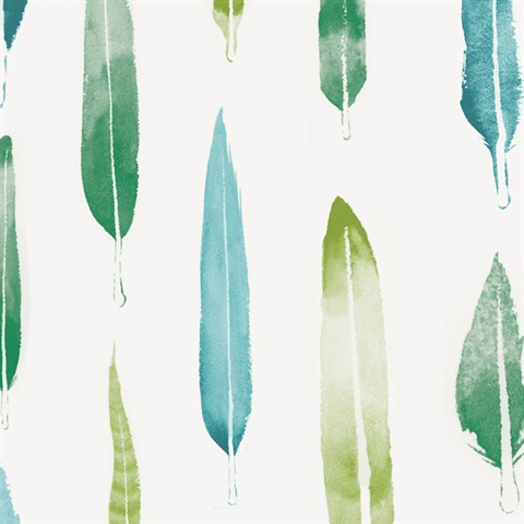 Feathers - Coach Emerald colourway wallpaper