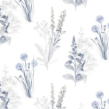 Floral Botanical Blue & White Wallpaper