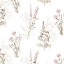 Floral Botanical Pink, Khaki & Cream Wallpaper