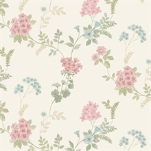 Floral Fern Pink, Blue & Green Wallpaper