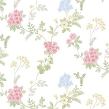 Floral Fern Pink, Blue,  Green & Yellow Wallpaper
