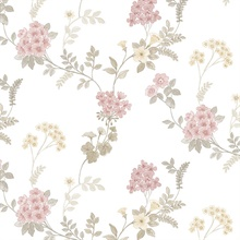 Floral Fern Pink, Khaki & Cream Wallpaper