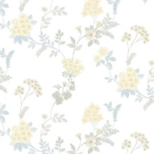 Floral Fern Yellow, Grey & Blue Wallpaper