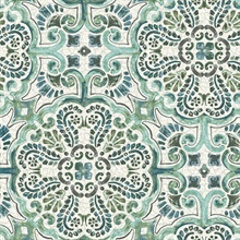 Florentine Green Tile Wallpaper
