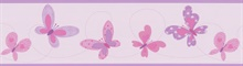 Flutter-By Border Purple Butterflies Border