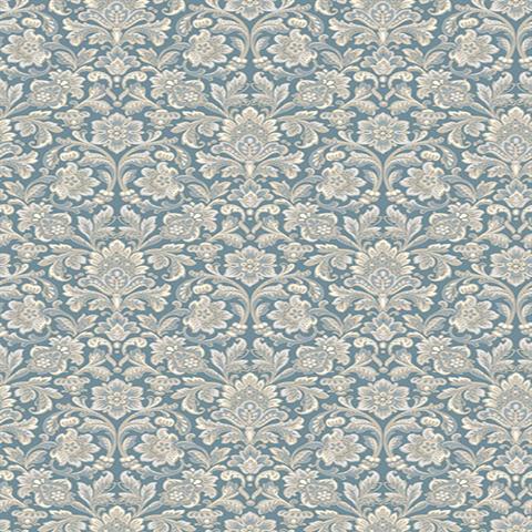 2827 4524 Wallpaper Foglavik Blue Slate Damask Wallpaper