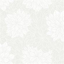 Foliage Grey & White Floral Wallpaper