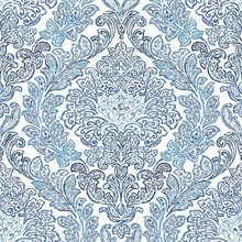 Fontaine Navy Damask Wallpaper