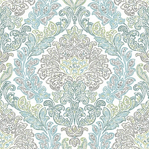 270222742 Fontaine Teal Damask Wallpaper Wallpaper Boulevard