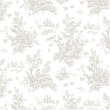 Forest Toile Grey & White Wallpaper