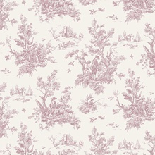Forest Toile Pink & Off-White Wallpaper