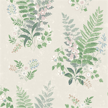 Foxglove Multicolor Botanical Wallpaper