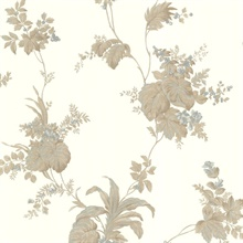 Frond Taupe Leaf Trail Wallpaper