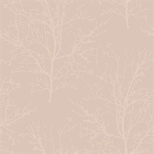 Frost Pink Glass Bead Frozen Branches Wallpaper