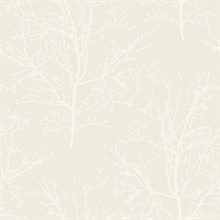 Frost White Glass Bead Frozen Branches Wallpaper